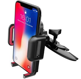 Mpow Grip Pro CD Slot Mount Phone Holder-in red